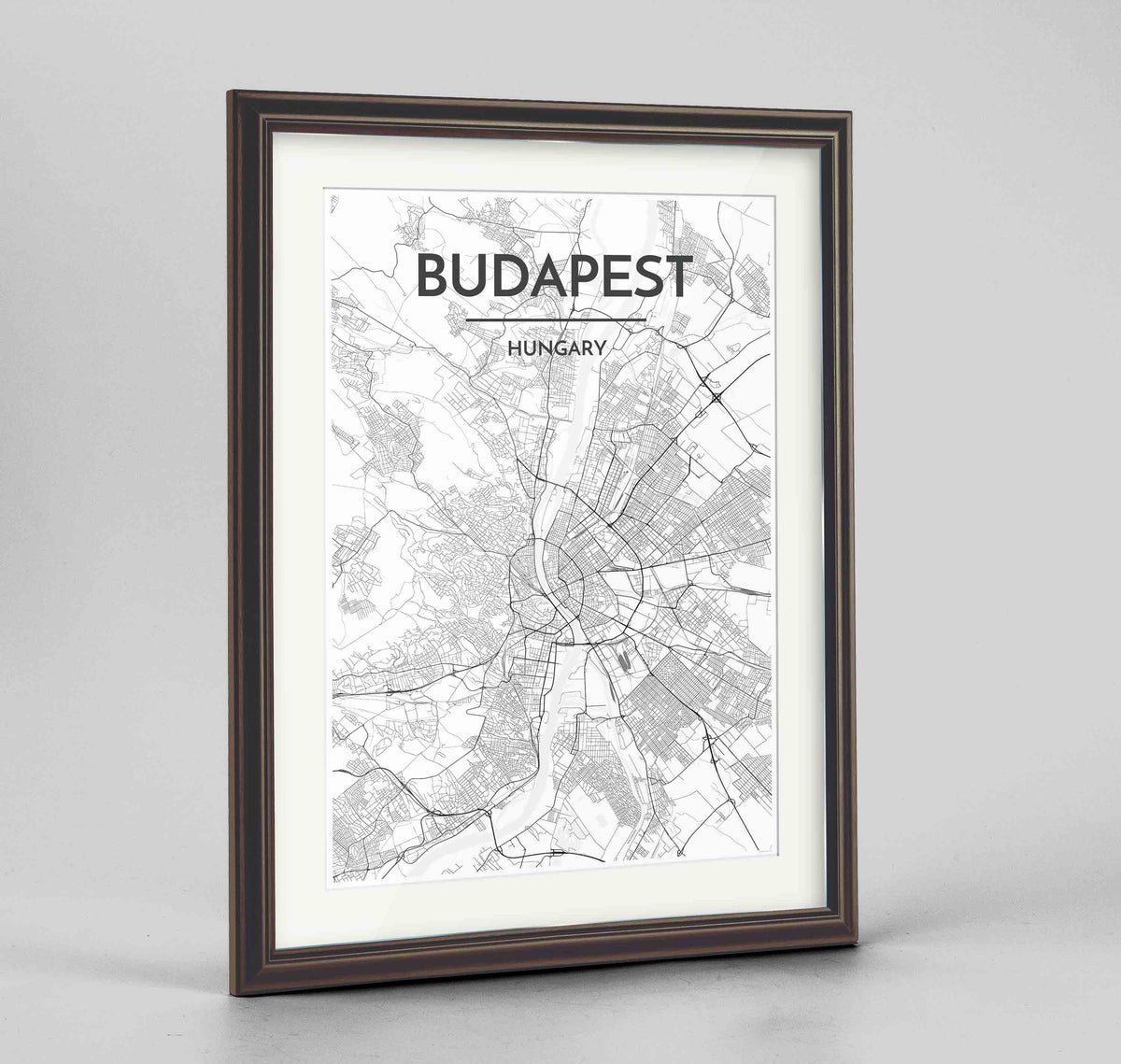 "Framed Budapest Map Art Print 24x36"" Traditional Walnut frame Point Two Design Group"