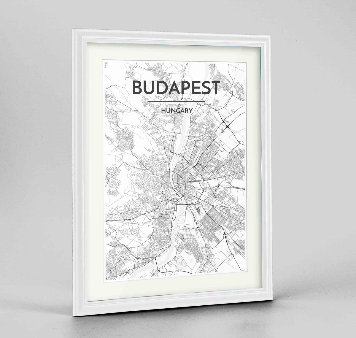 "Framed Budapest Map Art Print 24x36"" Traditional White frame Point Two Design Group"
