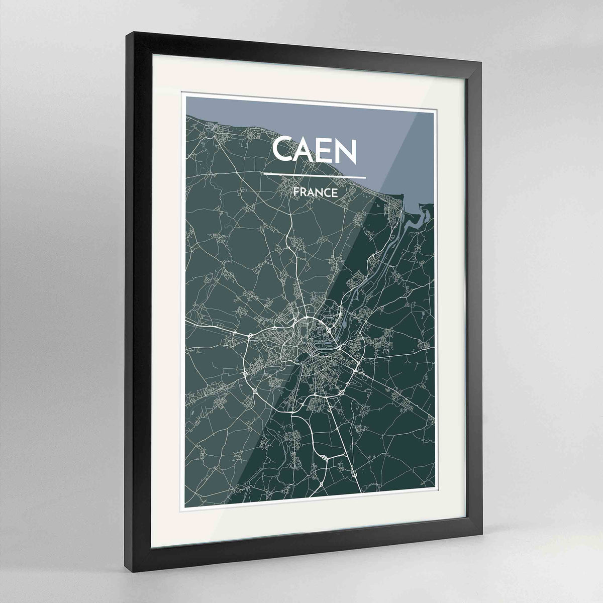 "Framed Caen Map Art Print 24x36"" Contemporary Black frame Point Two Design Group"