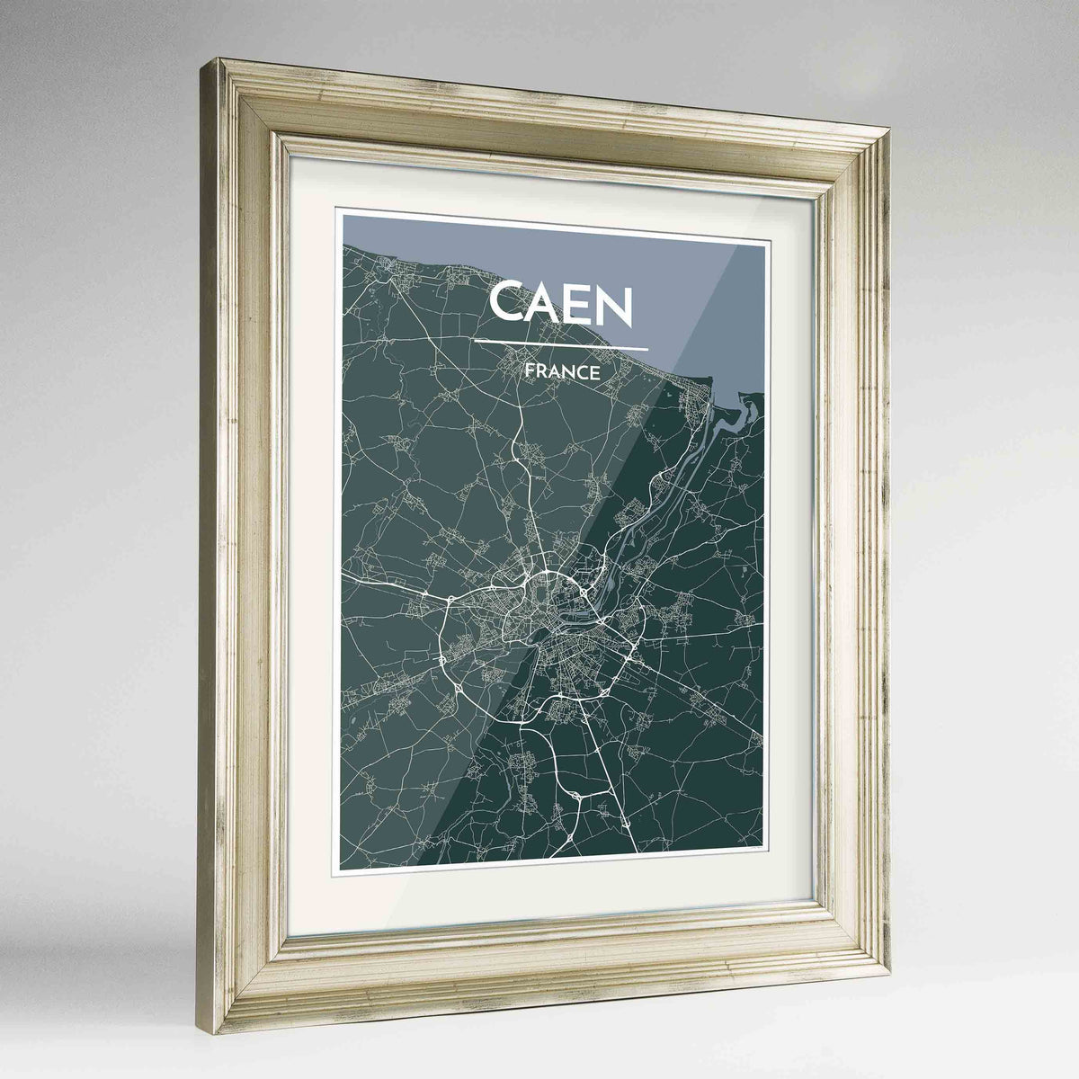 "Framed Caen Map Art Print 24x36"" Champagne frame Point Two Design Group"
