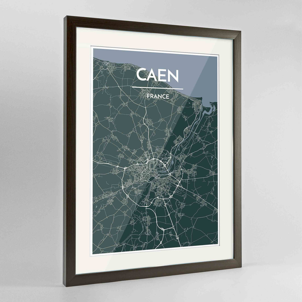 "Framed Caen Map Art Print 24x36"" Contemporary Walnut frame Point Two Design Group"