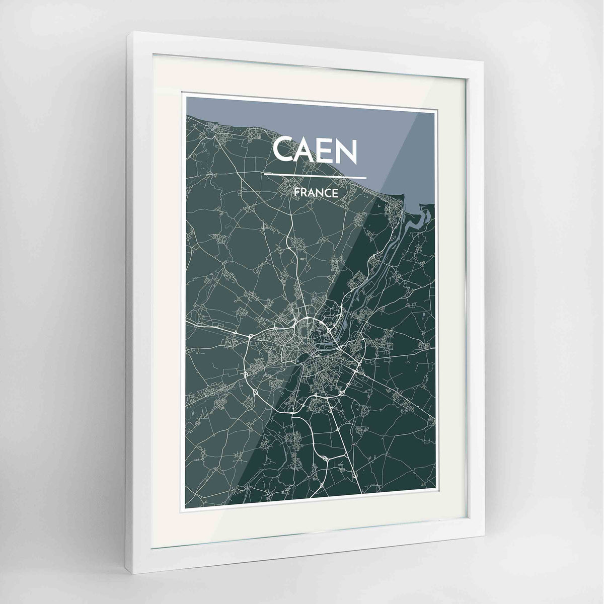 "Framed Caen Map Art Print 24x36"" Contemporary White frame Point Two Design Group"