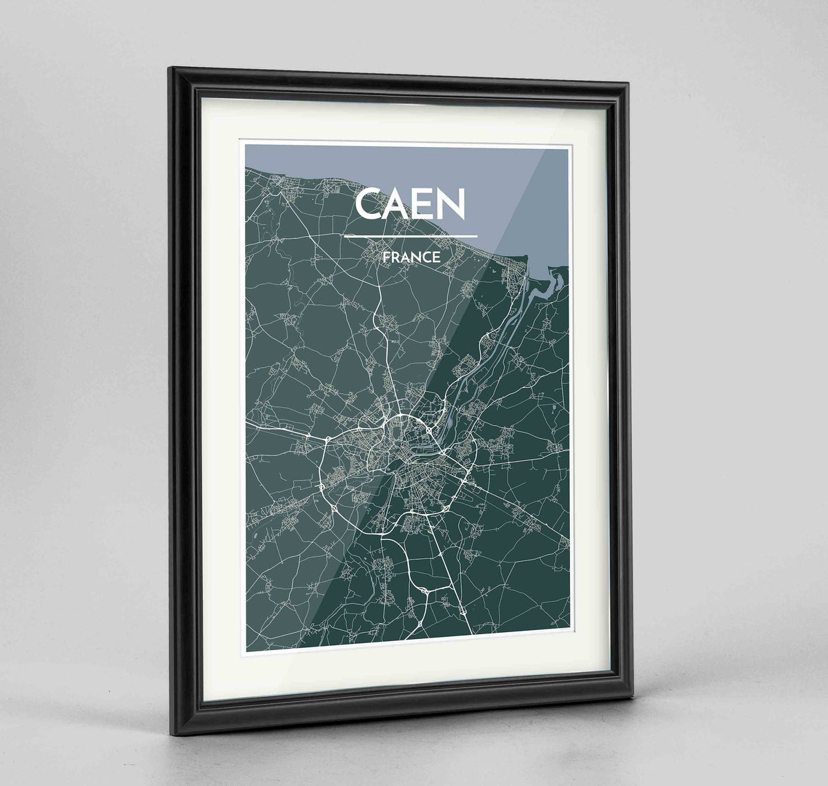 "Framed Caen Map Art Print 24x36"" Traditional Black frame Point Two Design Group"