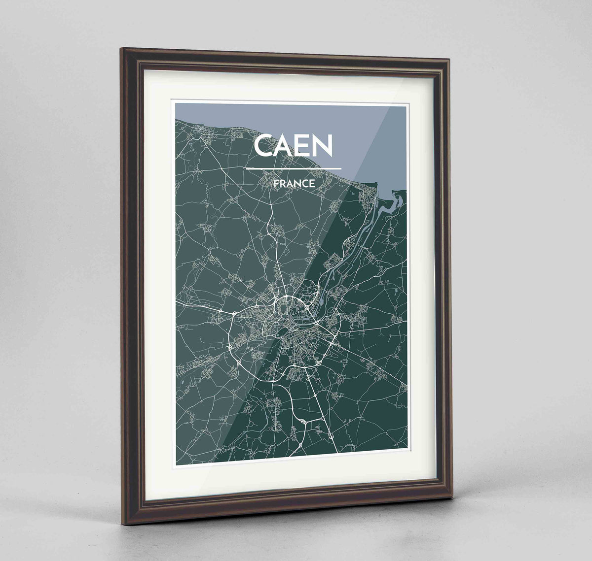 "Framed Caen Map Art Print 24x36"" Traditional Walnut frame Point Two Design Group"