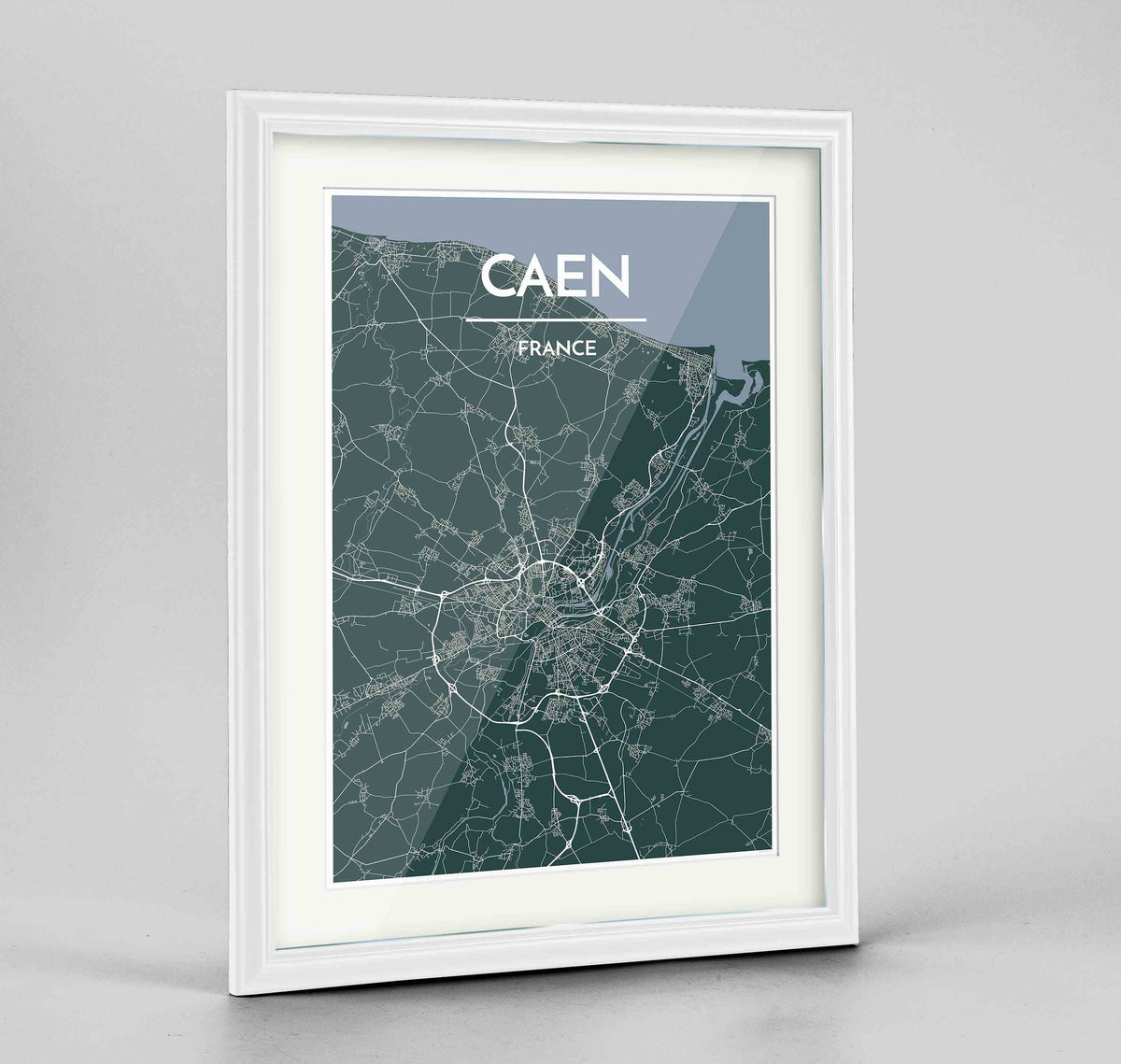 "Framed Caen Map Art Print 24x36"" Traditional White frame Point Two Design Group"