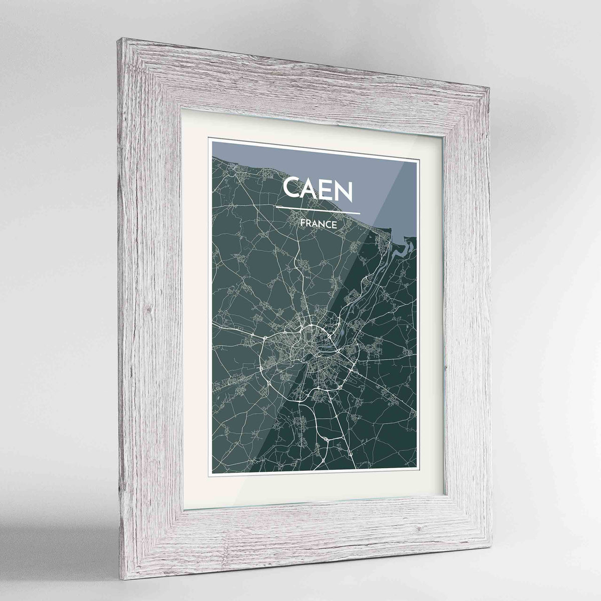 "Framed Caen Map Art Print 24x36"" Western White frame Point Two Design Group"