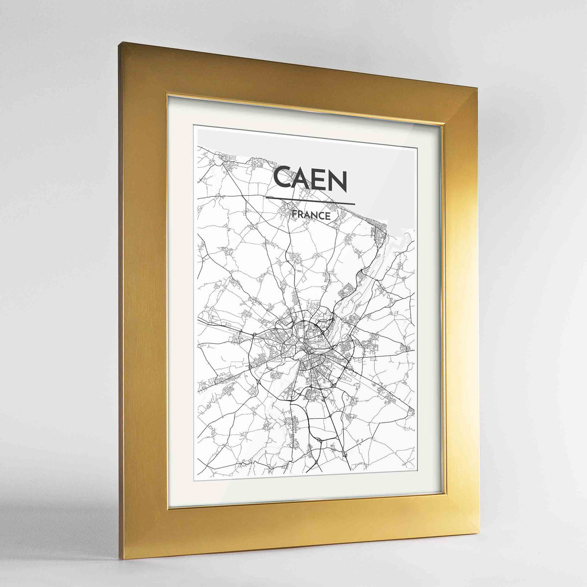 "Framed Caen Map Art Print 24x36"" Gold frame Point Two Design Group"