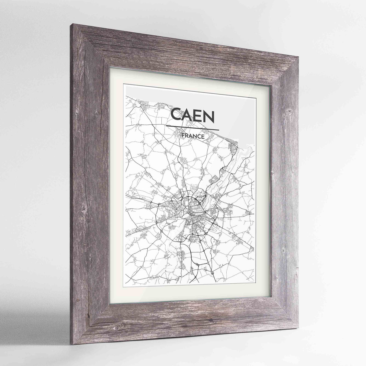 "Framed Caen Map Art Print 24x36"" Western Grey frame Point Two Design Group"