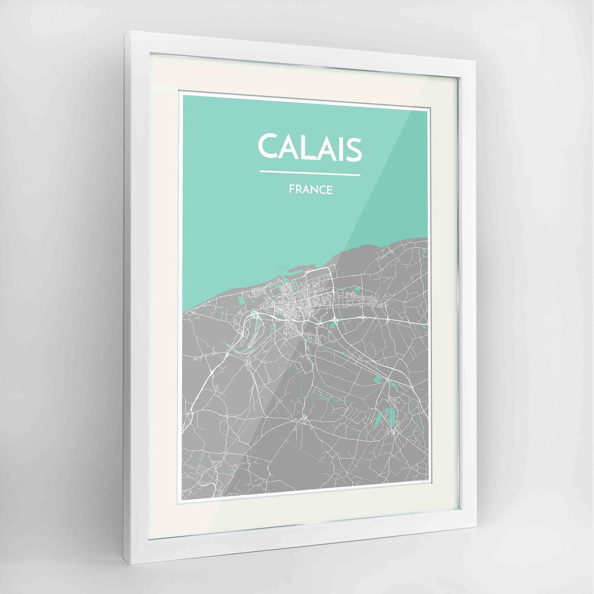 "Framed Calais Map Art Print 24x36"" Contemporary White frame Point Two Design Group"