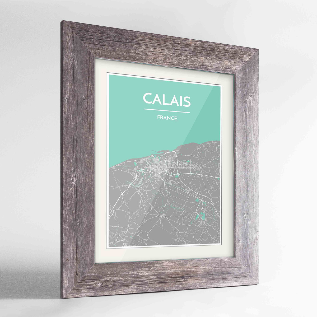 "Framed Calais Map Art Print 24x36"" Western Grey frame Point Two Design Group"