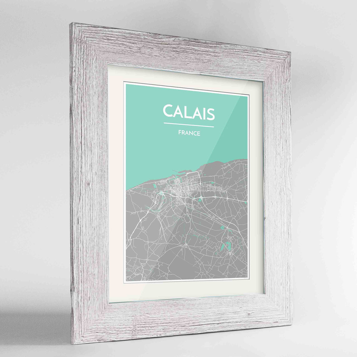 "Framed Calais Map Art Print 24x36"" Western White frame Point Two Design Group"