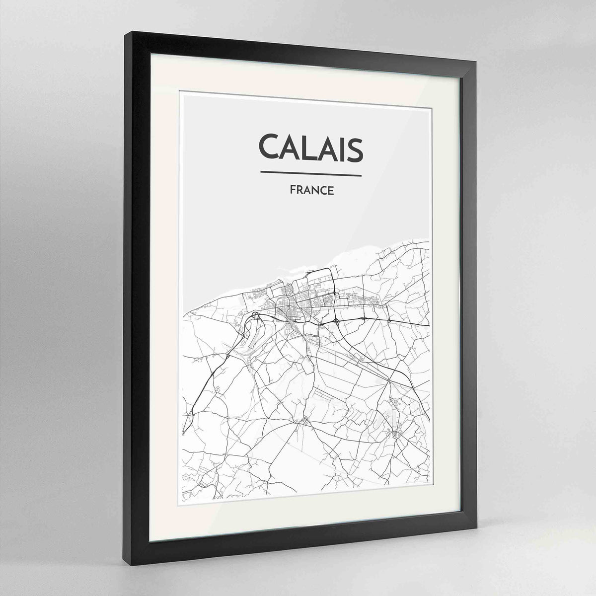 "Framed Calais Map Art Print 24x36"" Contemporary Black frame Point Two Design Group"