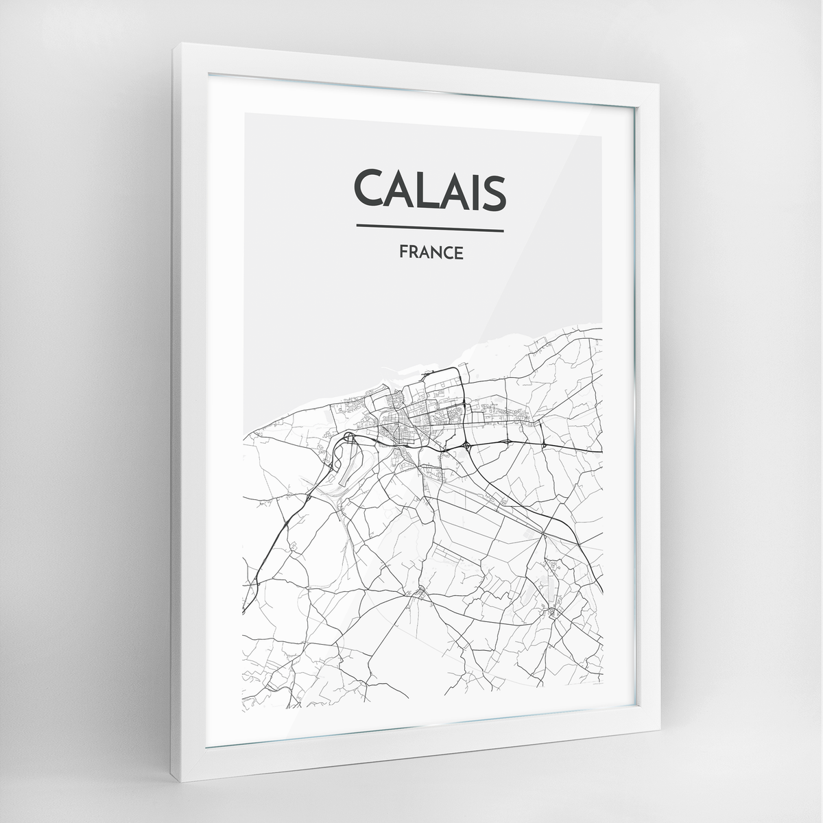 Calais Map Art Print - Framed