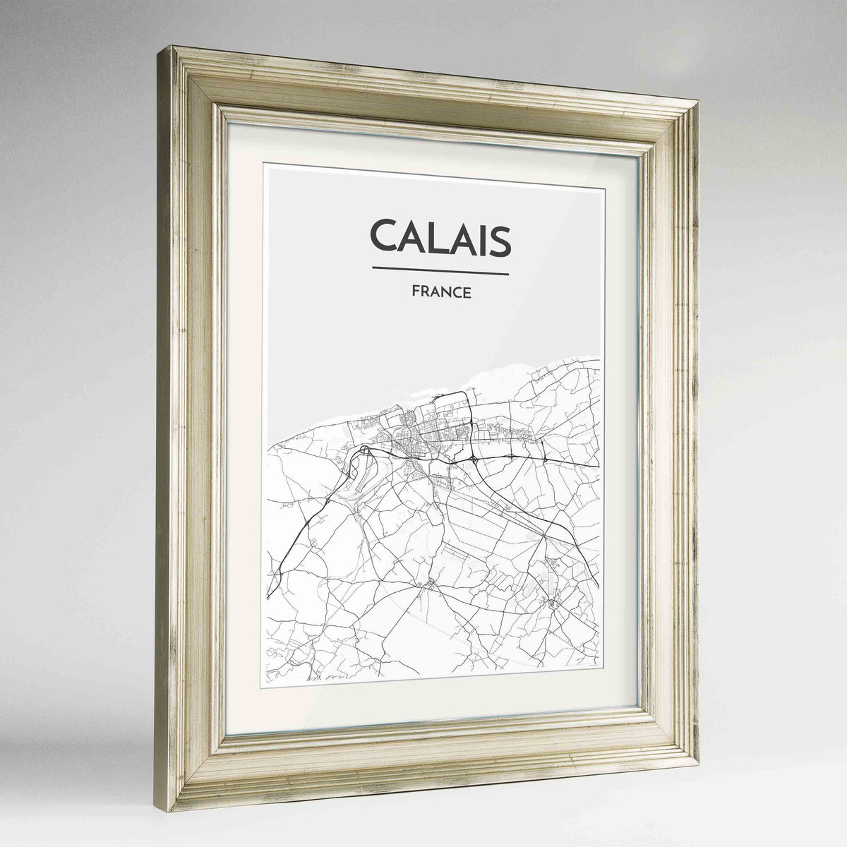 "Framed Calais Map Art Print 24x36"" Champagne frame Point Two Design Group"