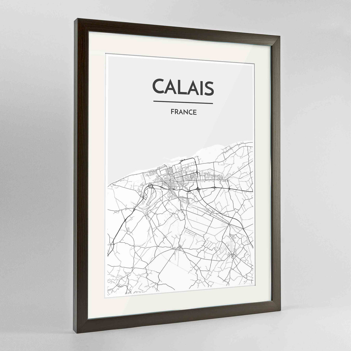 "Framed Calais Map Art Print 24x36"" Contemporary Walnut frame Point Two Design Group"