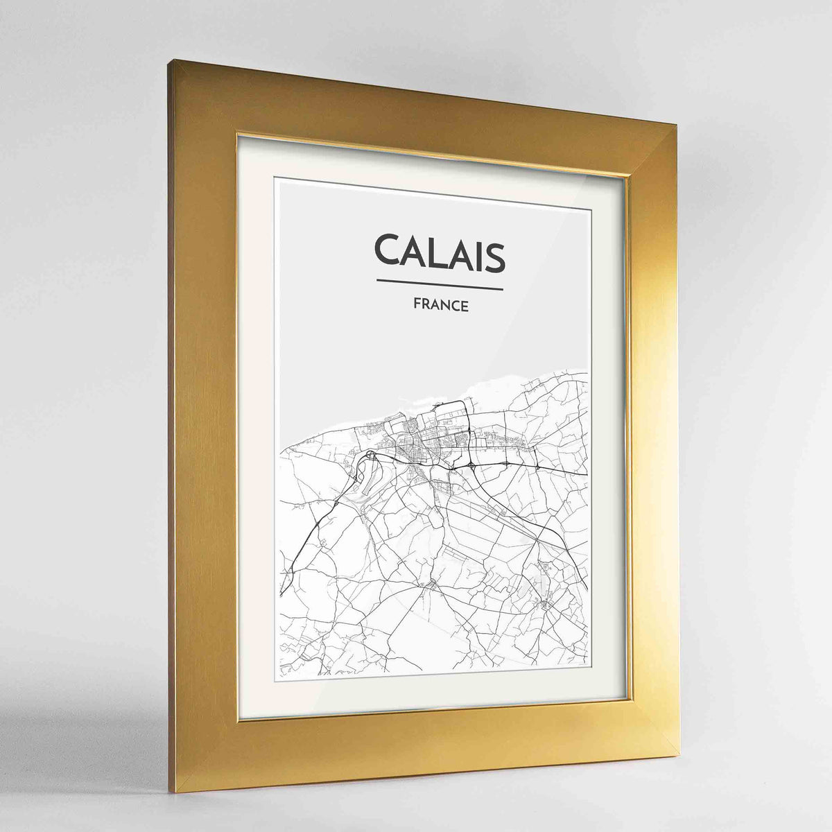 "Framed Calais Map Art Print 24x36"" Gold frame Point Two Design Group"