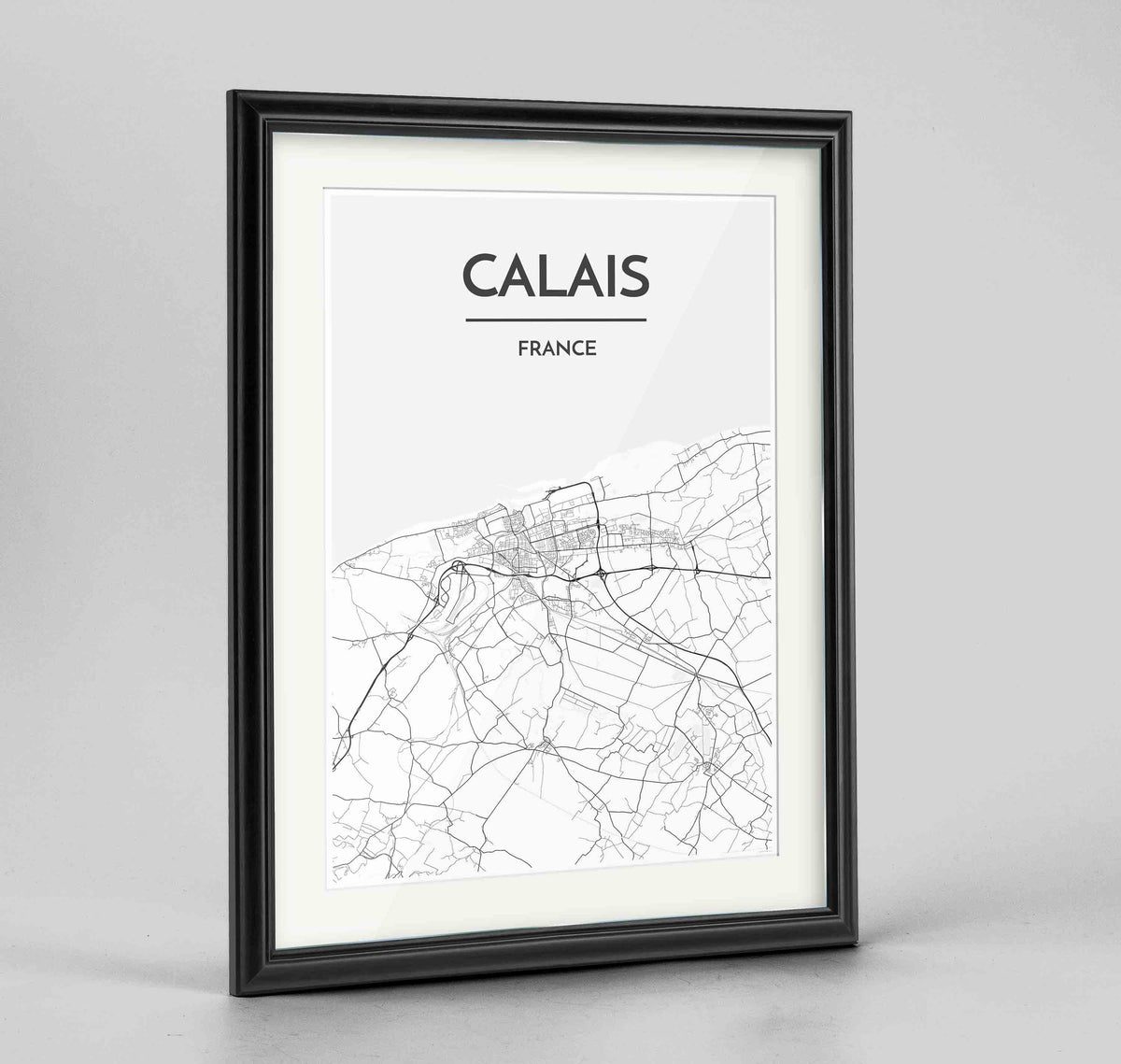"Framed Calais Map Art Print 24x36"" Traditional Black frame Point Two Design Group"