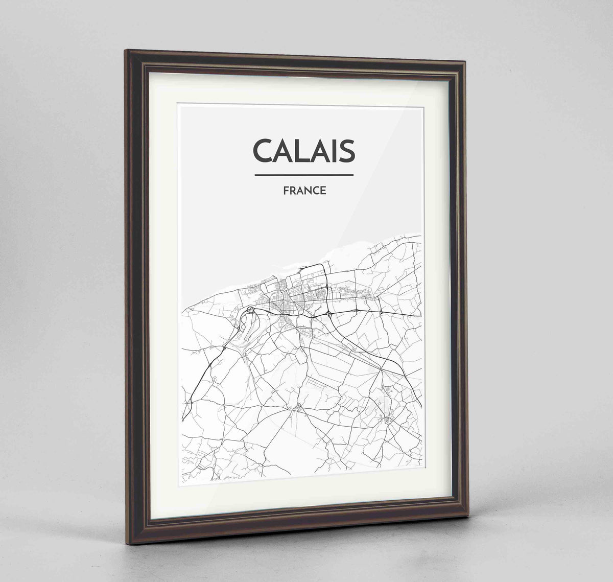 "Framed Calais Map Art Print 24x36"" Traditional Walnut frame Point Two Design Group"