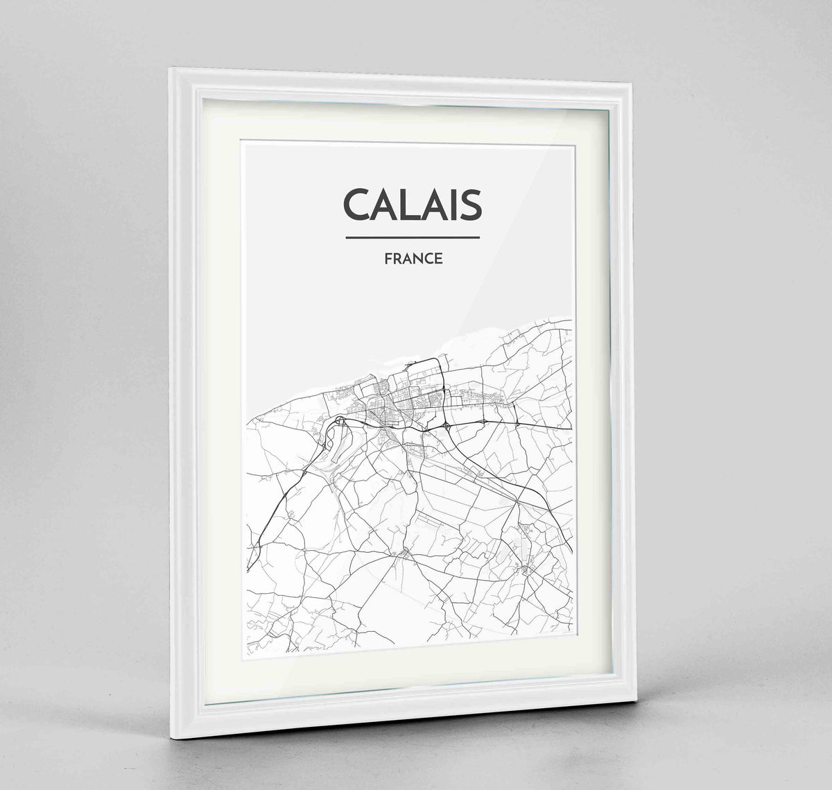 "Framed Calais Map Art Print 24x36"" Traditional White frame Point Two Design Group"