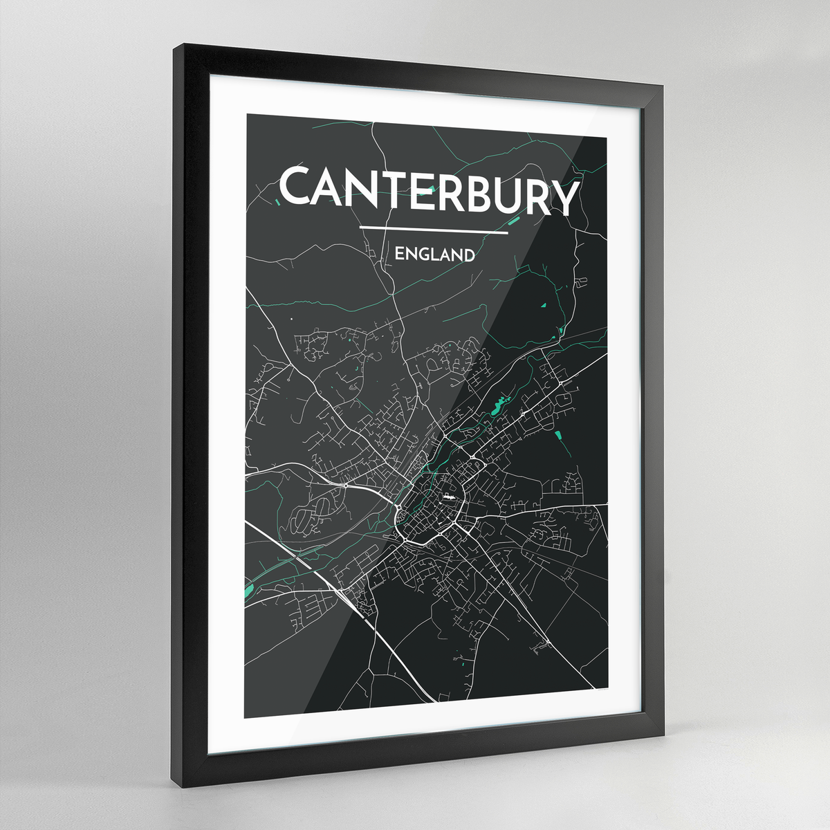 Framed Canterbury Map Art Print - Point Two Design