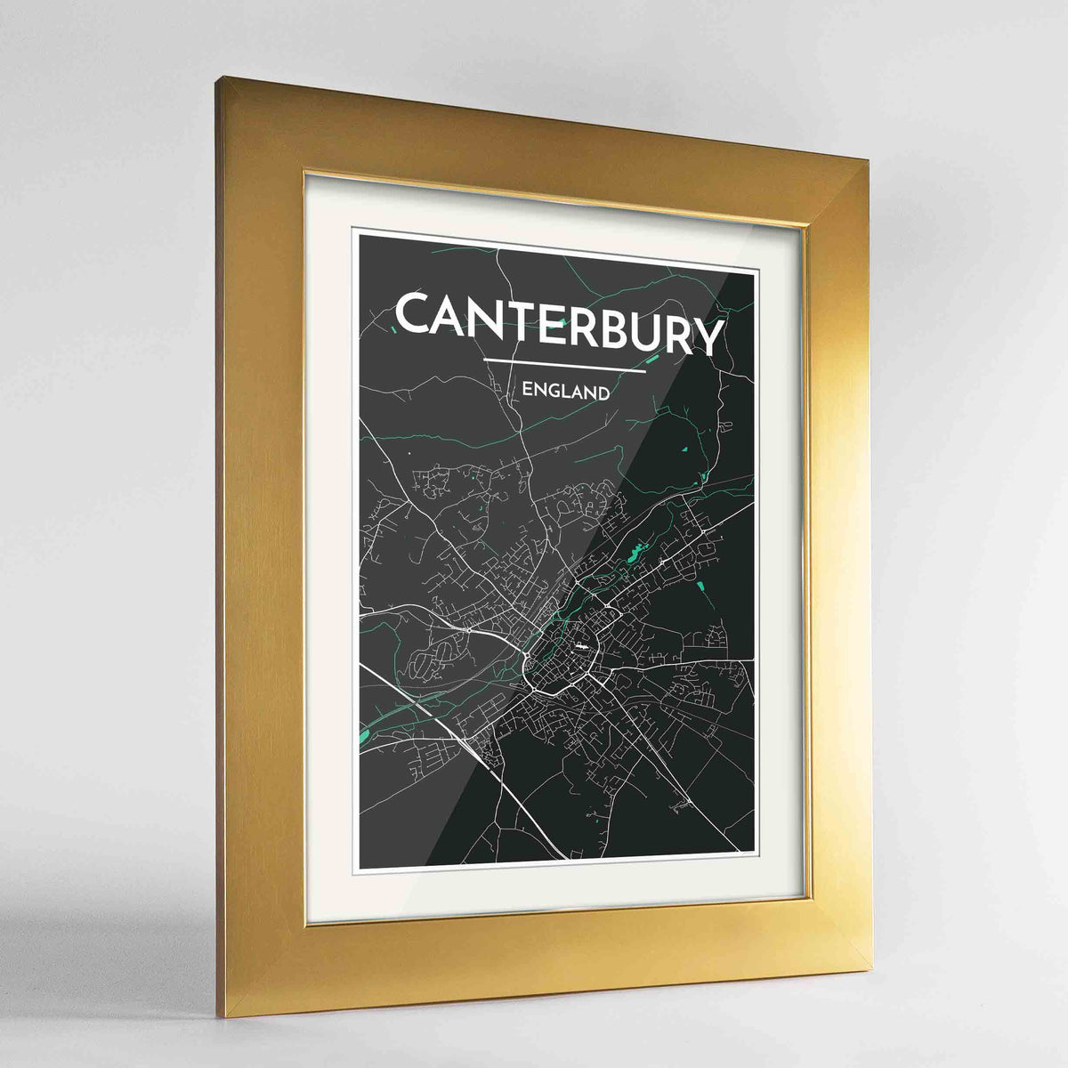 "Framed Canterbury Map Art Print 24x36"" Gold frame Point Two Design Group"