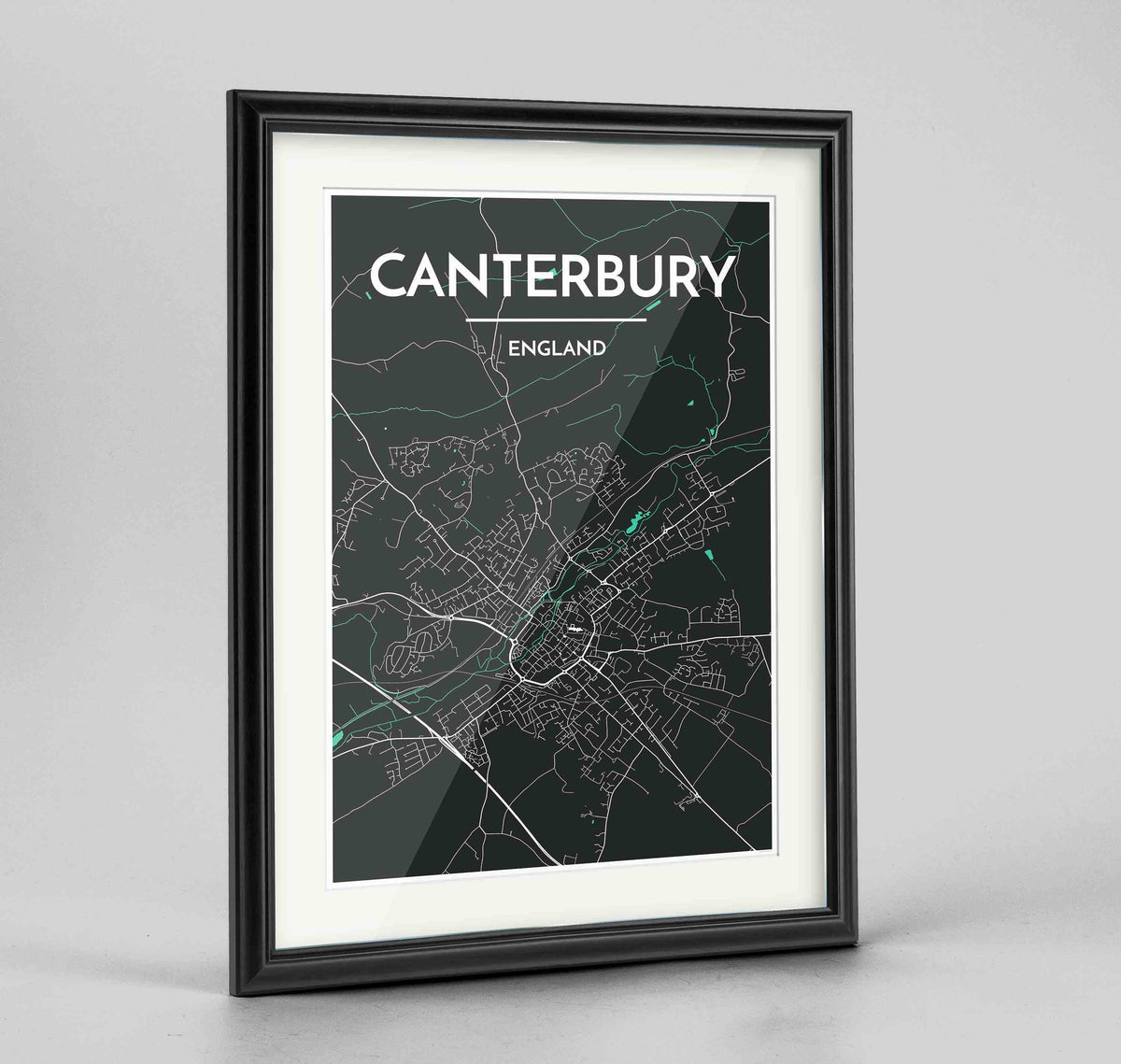 "Framed Canterbury Map Art Print 24x36"" Traditional Black frame Point Two Design Group"