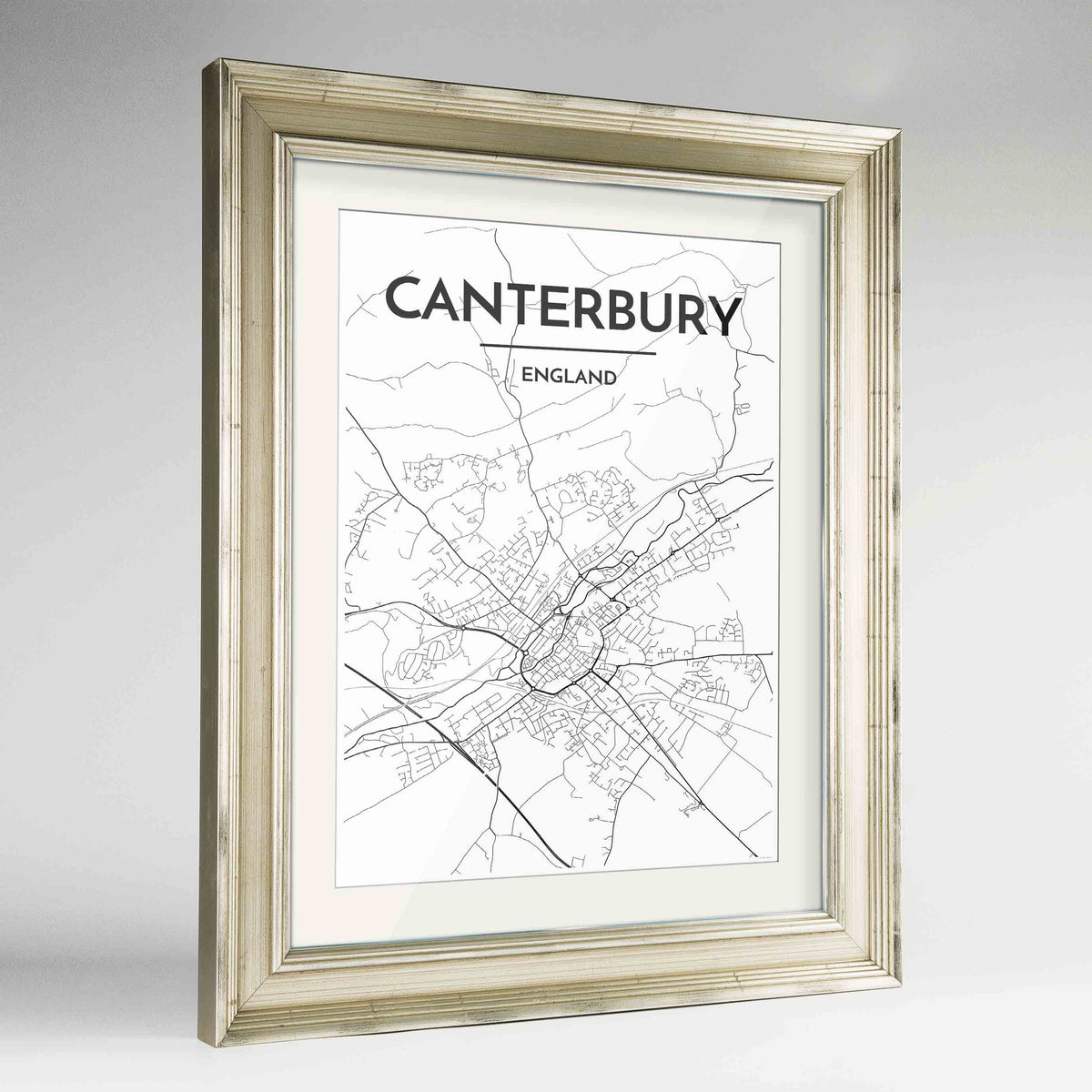 "Framed Canterbury Map Art Print 24x36"" Champagne frame Point Two Design Group"