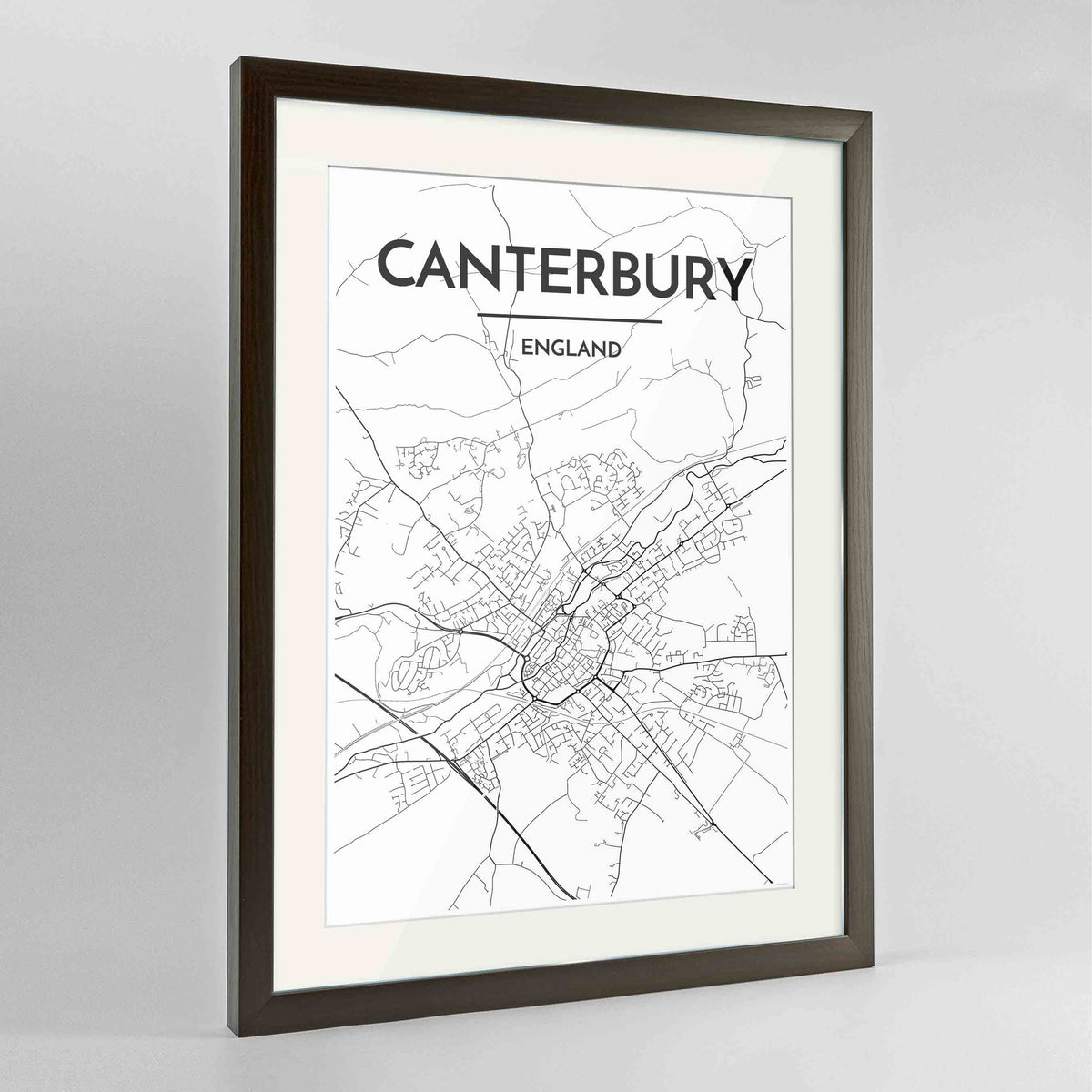 "Framed Canterbury Map Art Print 24x36"" Contemporary Walnut frame Point Two Design Group"