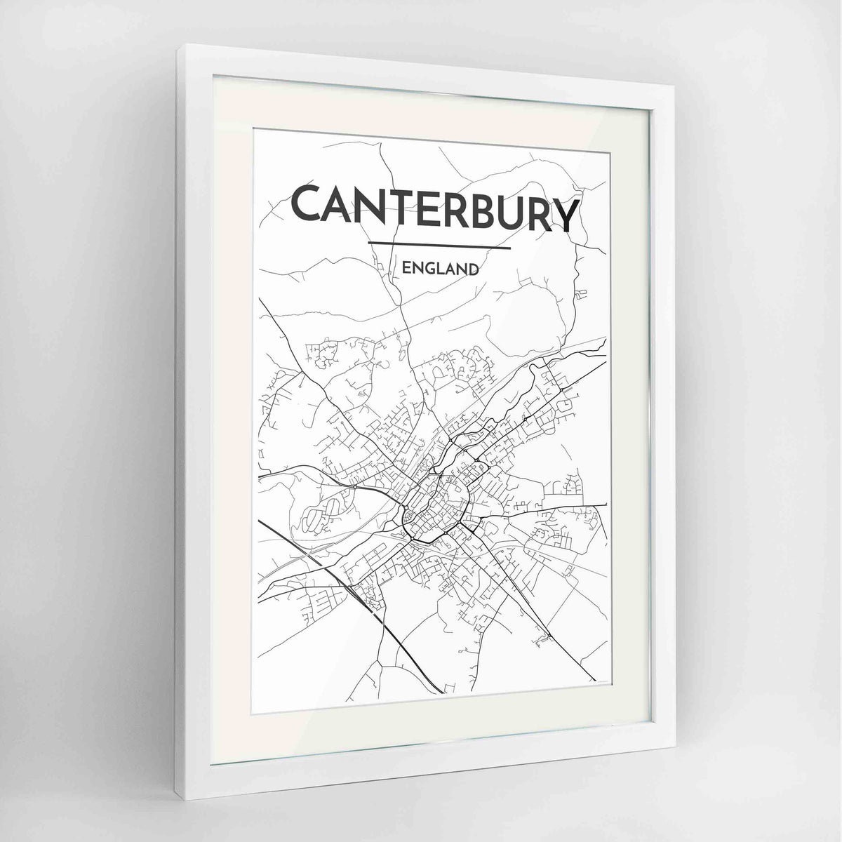 "Framed Canterbury Map Art Print 24x36"" Contemporary White frame Point Two Design Group"