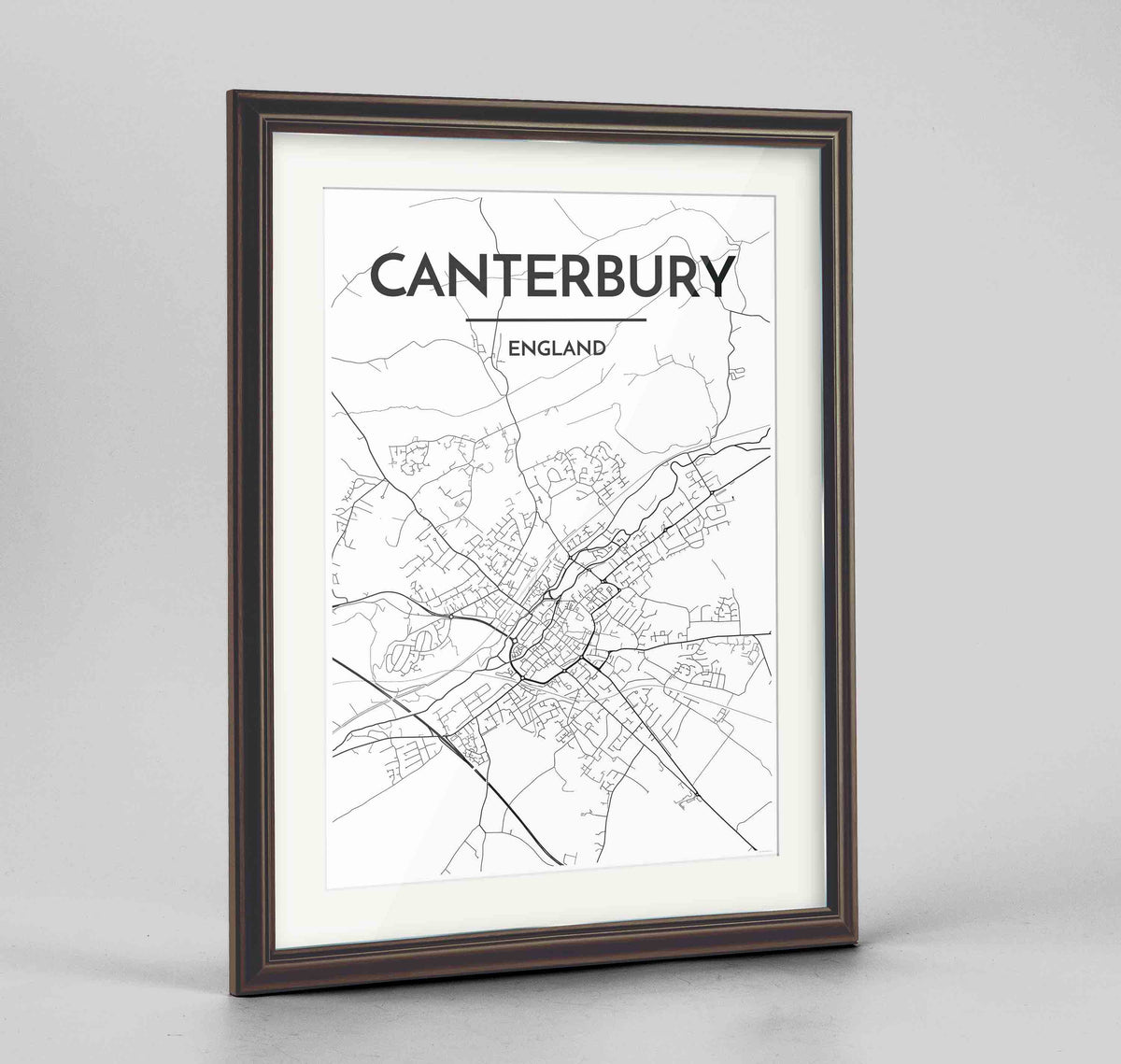 "Framed Canterbury Map Art Print 24x36"" Traditional Walnut frame Point Two Design Group"