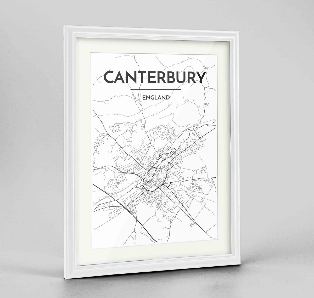 "Framed Canterbury Map Art Print 24x36"" Traditional White frame Point Two Design Group"