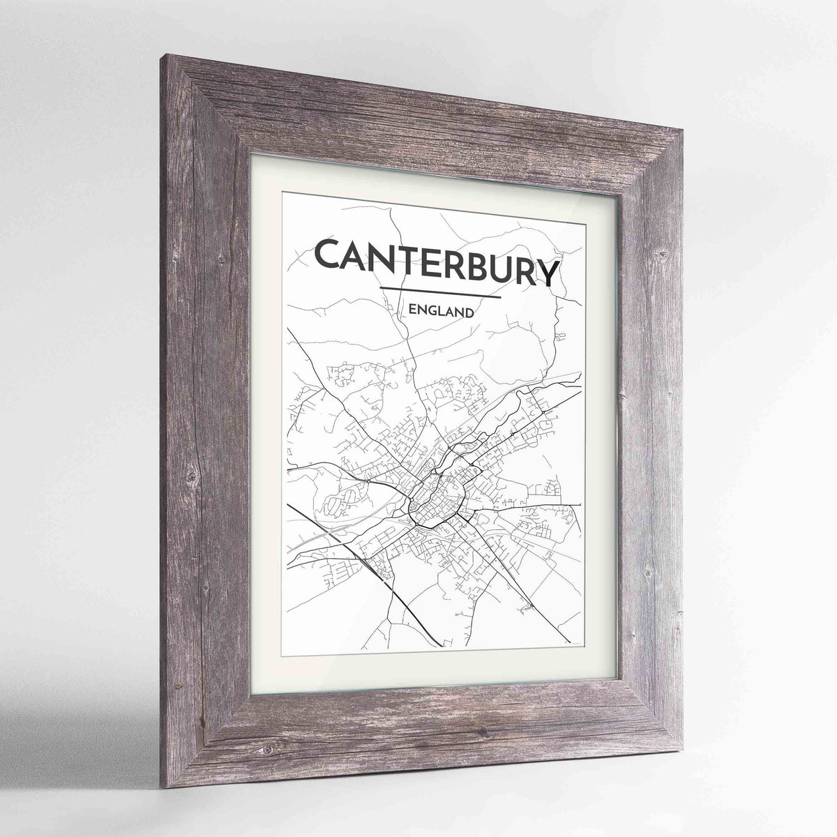 "Framed Canterbury Map Art Print 24x36"" Western Grey frame Point Two Design Group"
