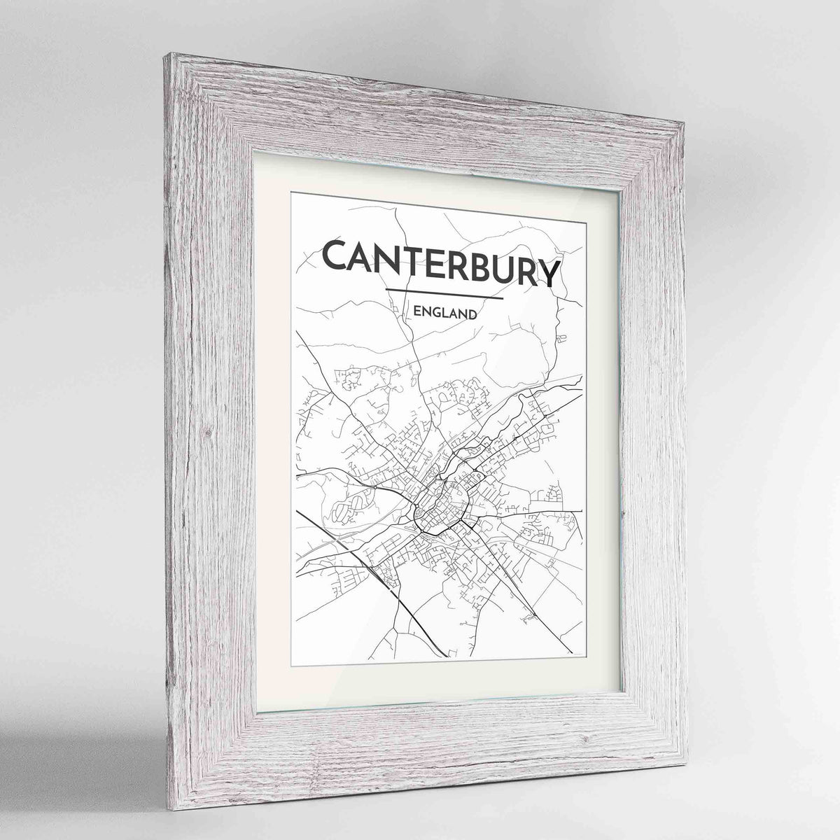 "Framed Canterbury Map Art Print 24x36"" Western White frame Point Two Design Group"