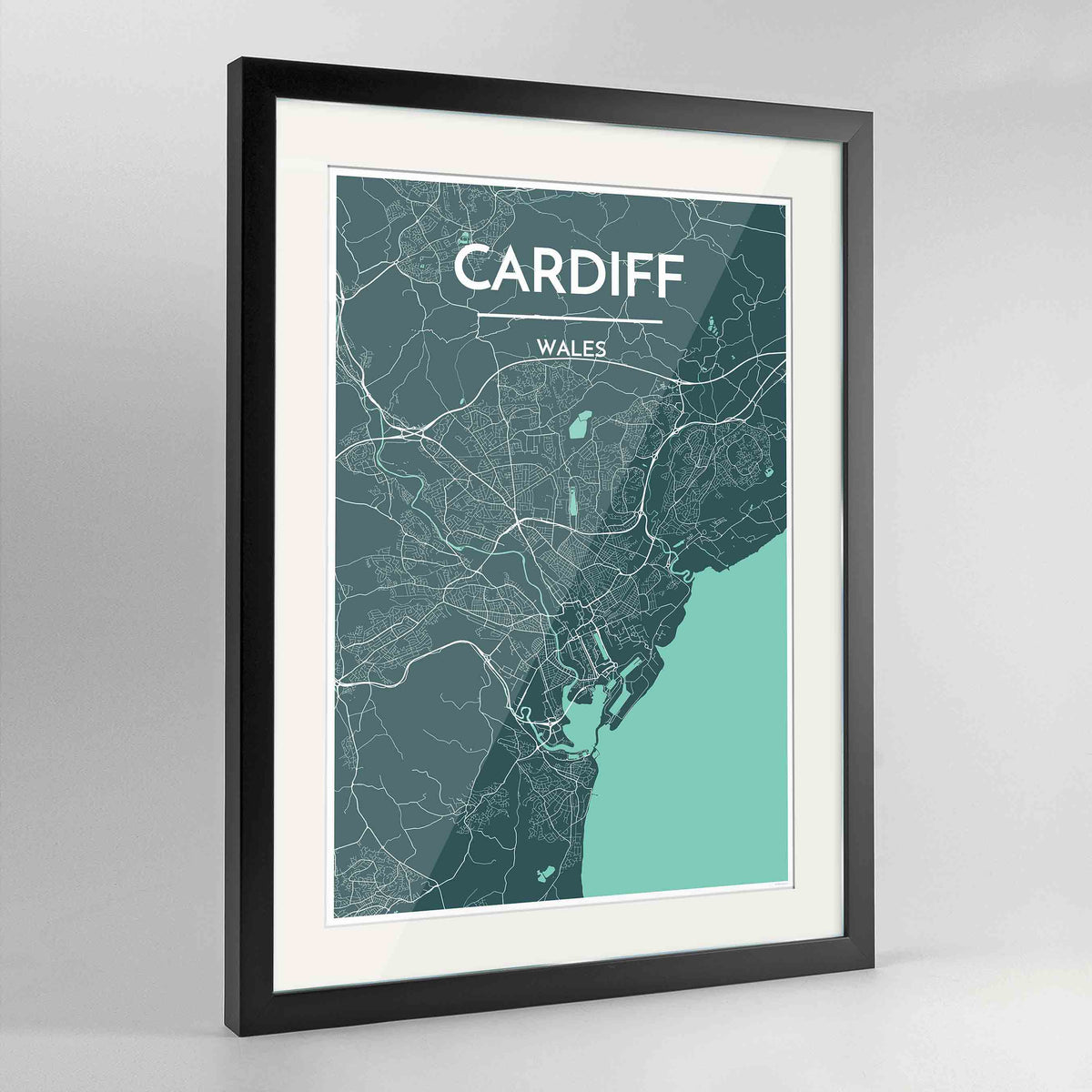 "Framed Cardiff Map Art Print 24x36"" Contemporary Black frame Point Two Design Group"