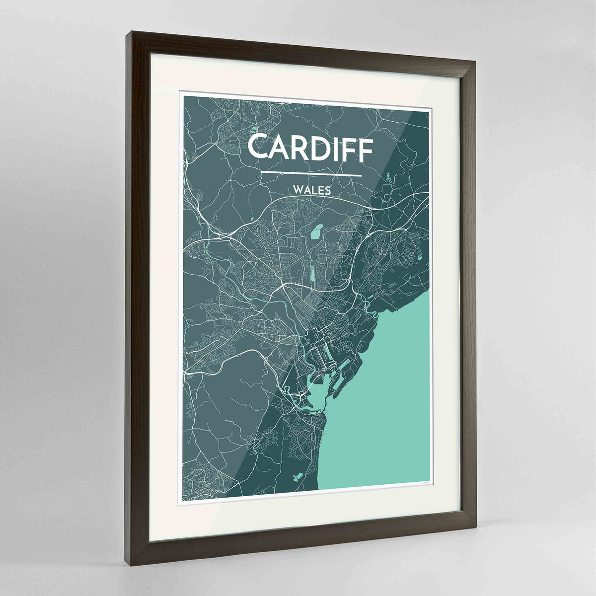 "Framed Cardiff Map Art Print 24x36"" Contemporary Walnut frame Point Two Design Group"
