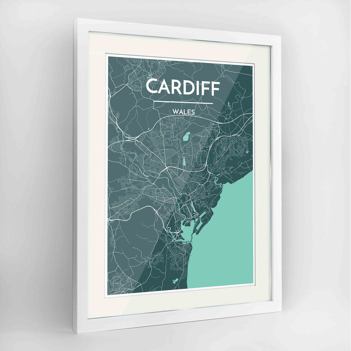 "Framed Cardiff Map Art Print 24x36"" Contemporary White frame Point Two Design Group"