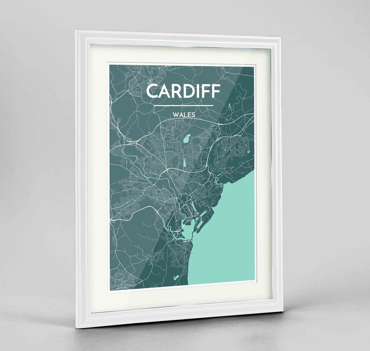 "Framed Cardiff Map Art Print 24x36"" Traditional White frame Point Two Design Group"