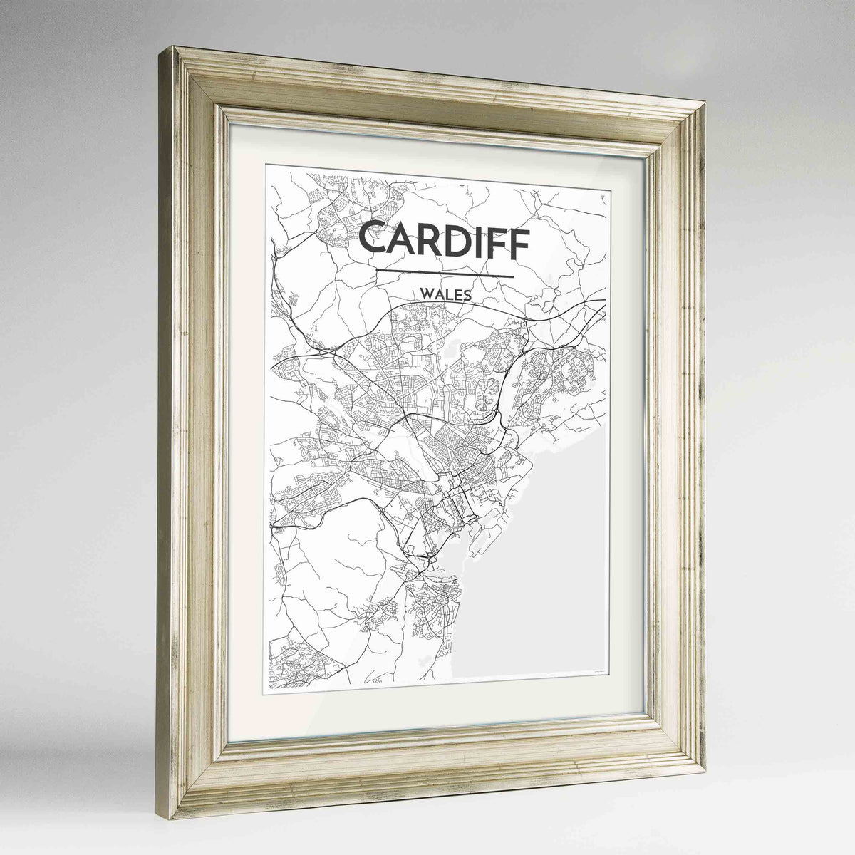 "Framed Cardiff Map Art Print 24x36"" Champagne frame Point Two Design Group"