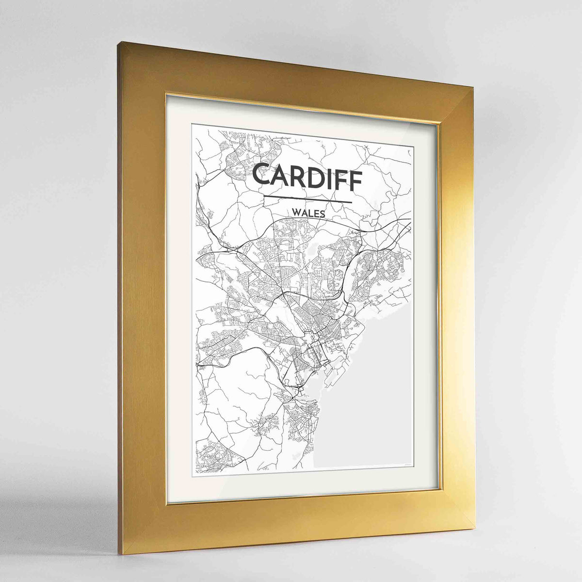 "Framed Cardiff Map Art Print 24x36"" Gold frame Point Two Design Group"