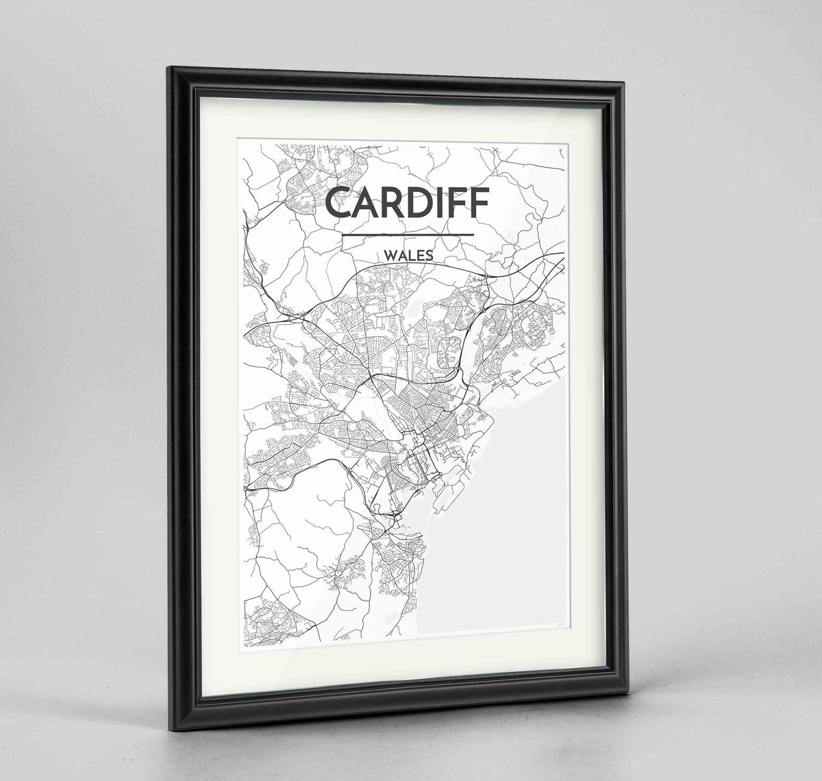 "Framed Cardiff Map Art Print 24x36"" Traditional Black frame Point Two Design Group"