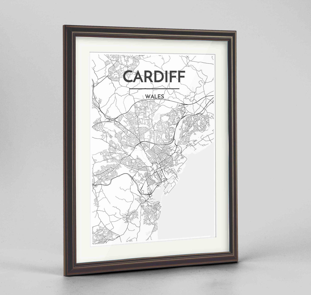 "Framed Cardiff Map Art Print 24x36"" Traditional Walnut frame Point Two Design Group"
