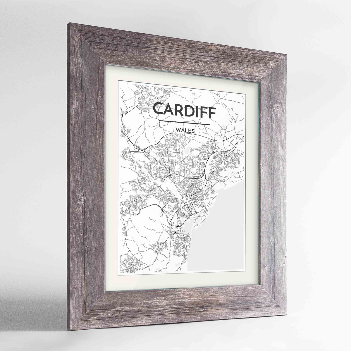"Framed Cardiff Map Art Print 24x36"" Western Grey frame Point Two Design Group"