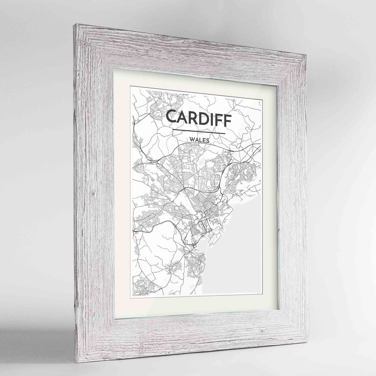 "Framed Cardiff Map Art Print 24x36"" Western White frame Point Two Design Group"
