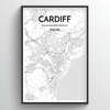 Cardiff Map Art Print - Point Two Design