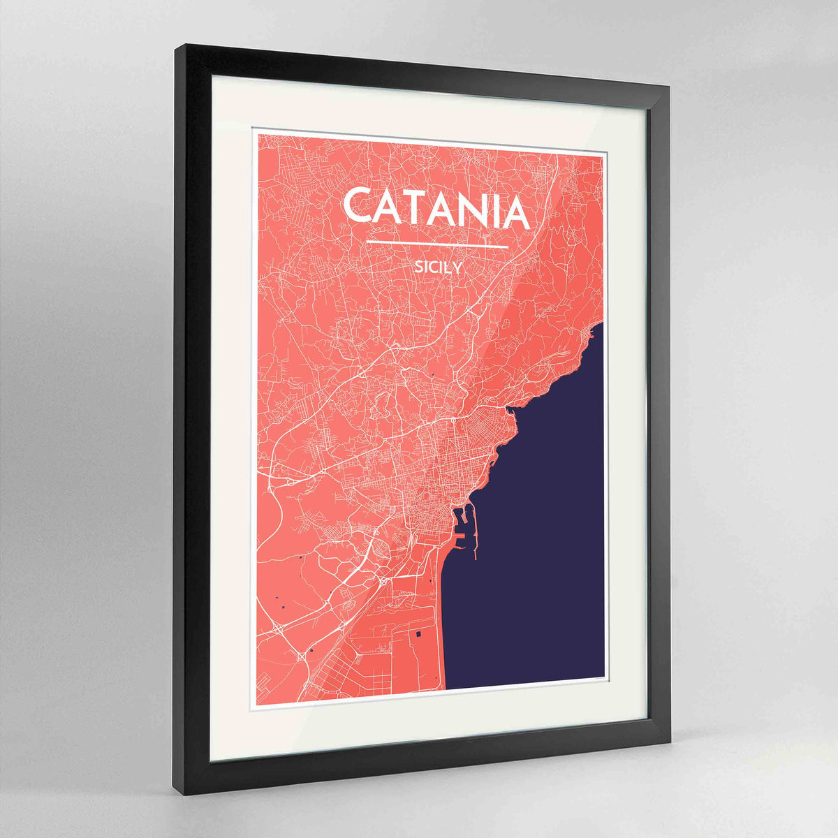 "Framed Catania Map Art Print 24x36"" Contemporary Black frame Point Two Design Group"