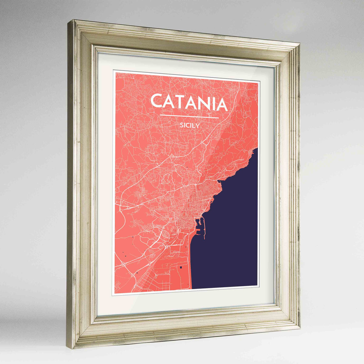 "Framed Catania Map Art Print 24x36"" Champagne frame Point Two Design Group"