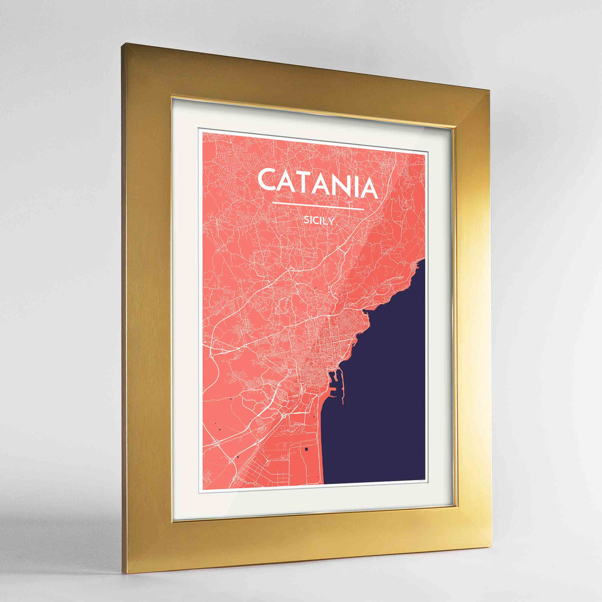 "Framed Catania Map Art Print 24x36"" Gold frame Point Two Design Group"