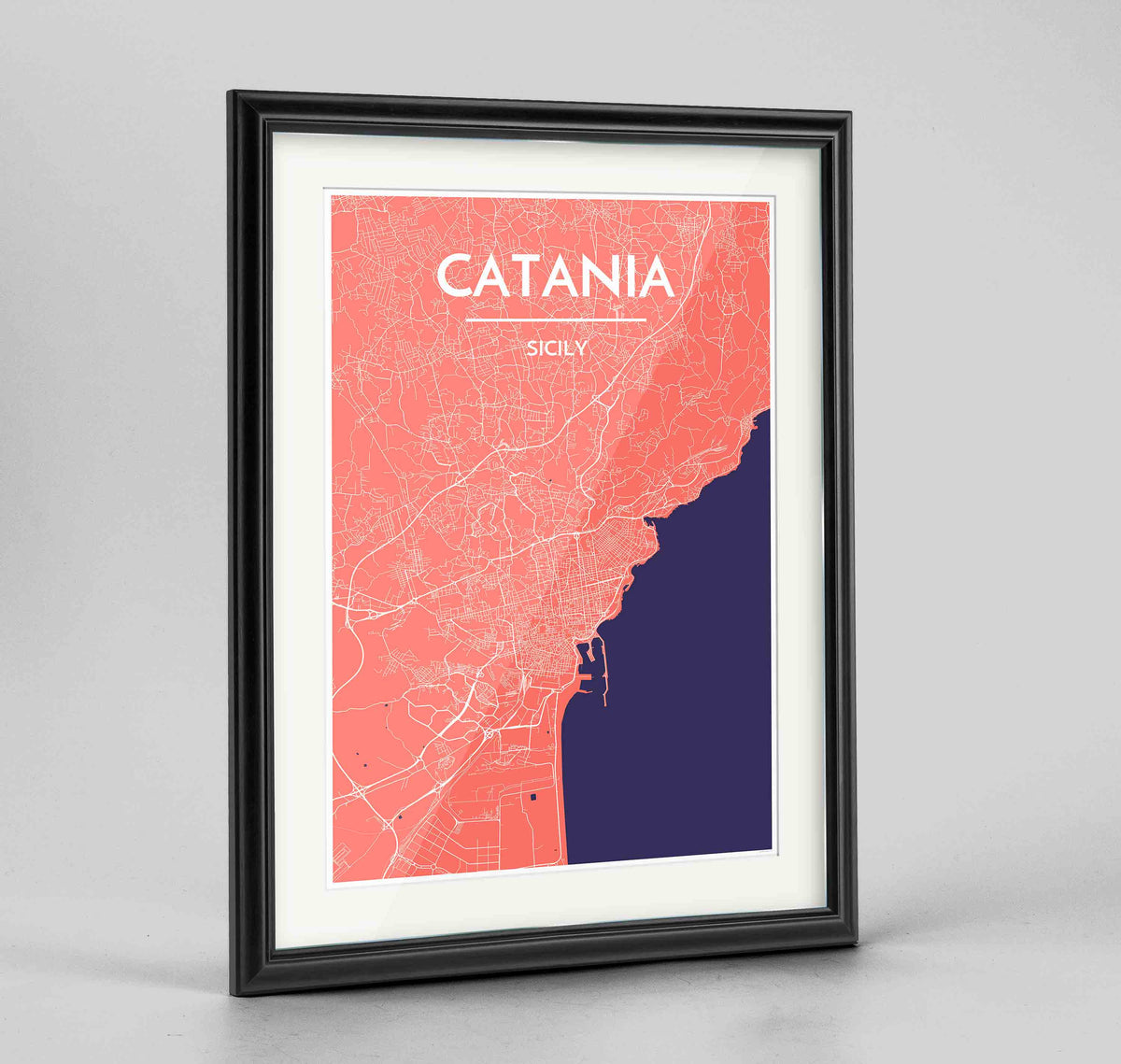 "Framed Catania Map Art Print 24x36"" Traditional Black frame Point Two Design Group"