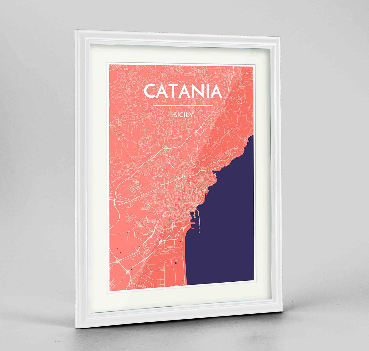 "Framed Catania Map Art Print 24x36"" Traditional White frame Point Two Design Group"