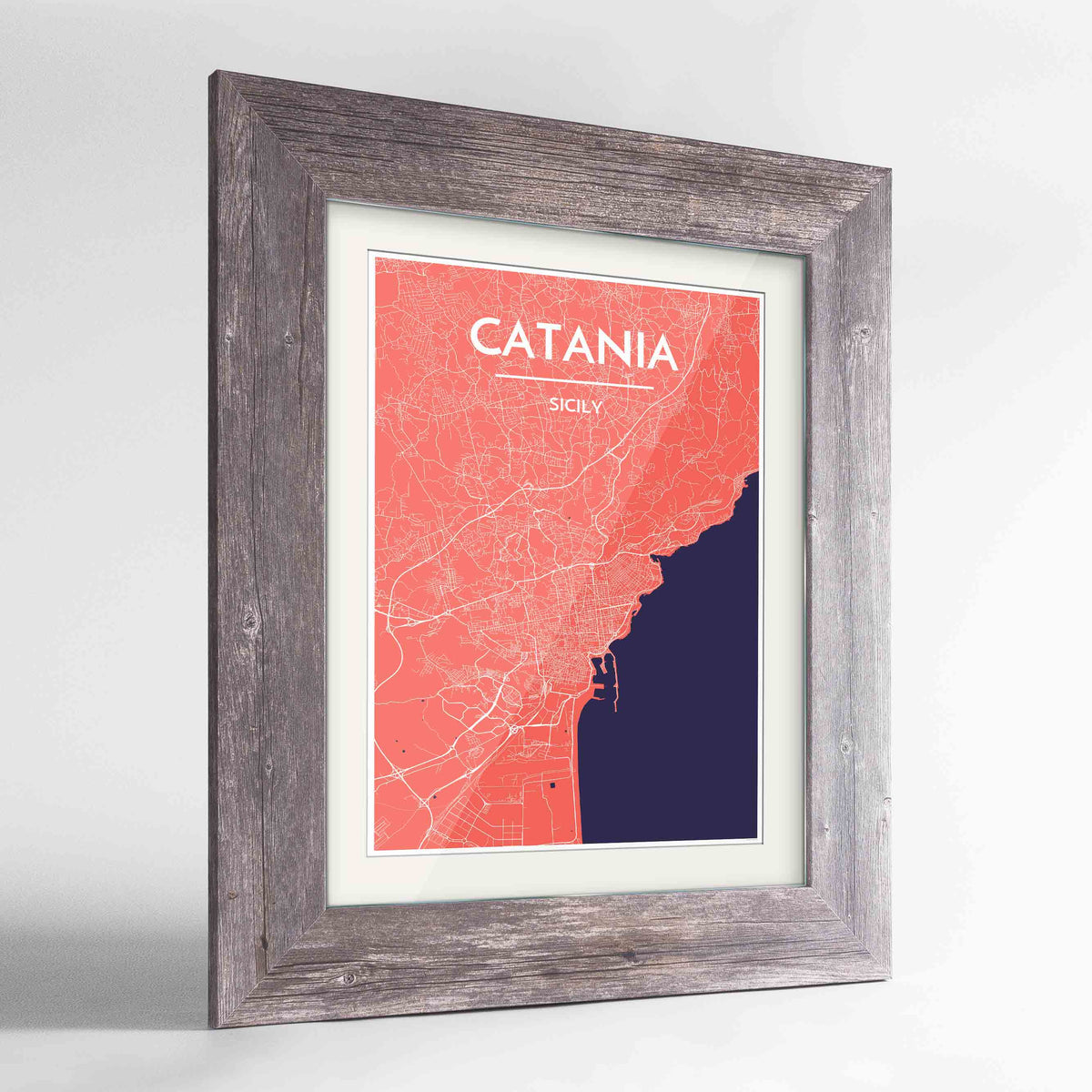 "Framed Catania Map Art Print 24x36"" Western Grey frame Point Two Design Group"
